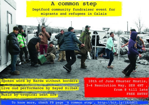 A Common Step - A Common Step was the first event organised by Migration Collective in June 2016.Through spoken word, live music, an exhibition, and a short video it aimed to raise funds for and awareness of the work of L'Auberge des Migrants, a grassroots charity supporting migrants in Calais.