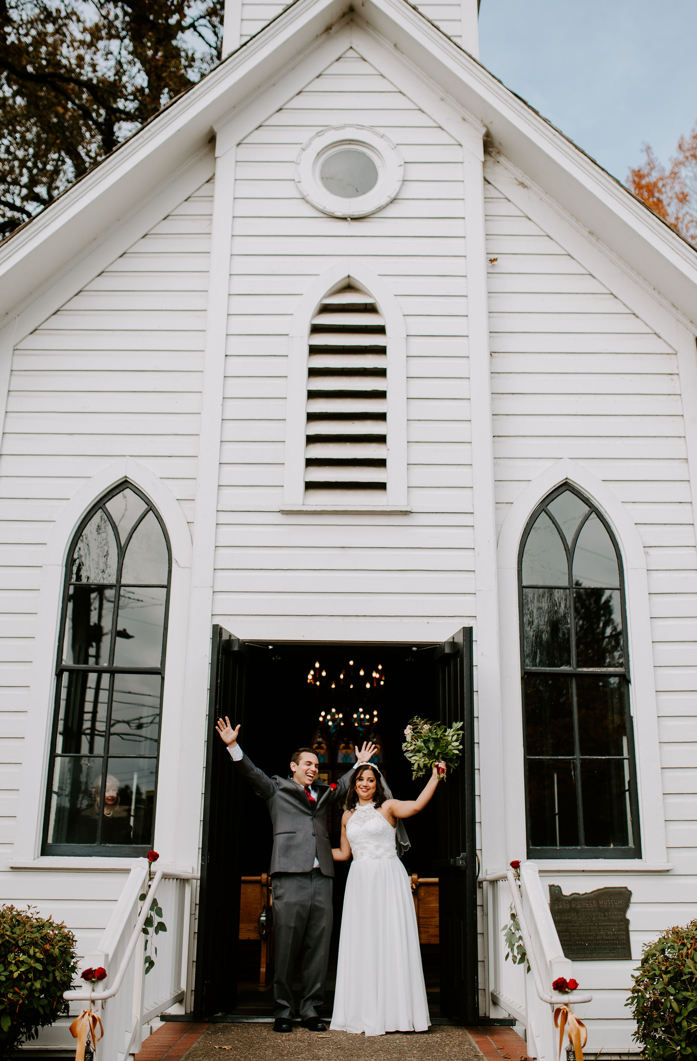 Tiny Chapel Wedding Oaks Pioneer Church Portland Oregon
