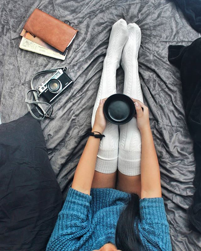 Lazy comfy morning shoots. #Photoshoots #cute #morning #kneesocks #coffee #24mm #canon #legs #bed