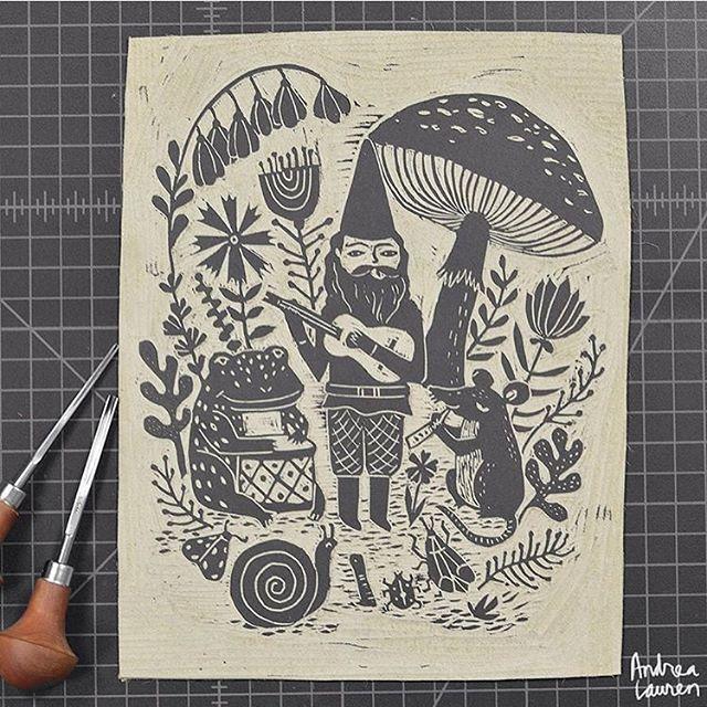 Linocut obsessed with @inkprintrepeat 💯💯💯