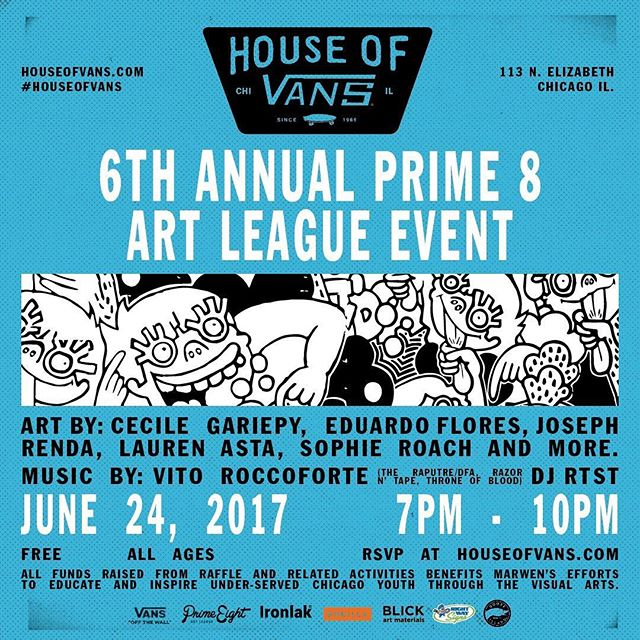 If you don't know, now you know: RSVP LINK IS LIVE! Join us Saturday, June 24 at @houseofvanschicago for the 6th Annual @Prime8Art League Event featuring amazing artists listed above. It's FREE! Link is in our bio, get on it peeps!