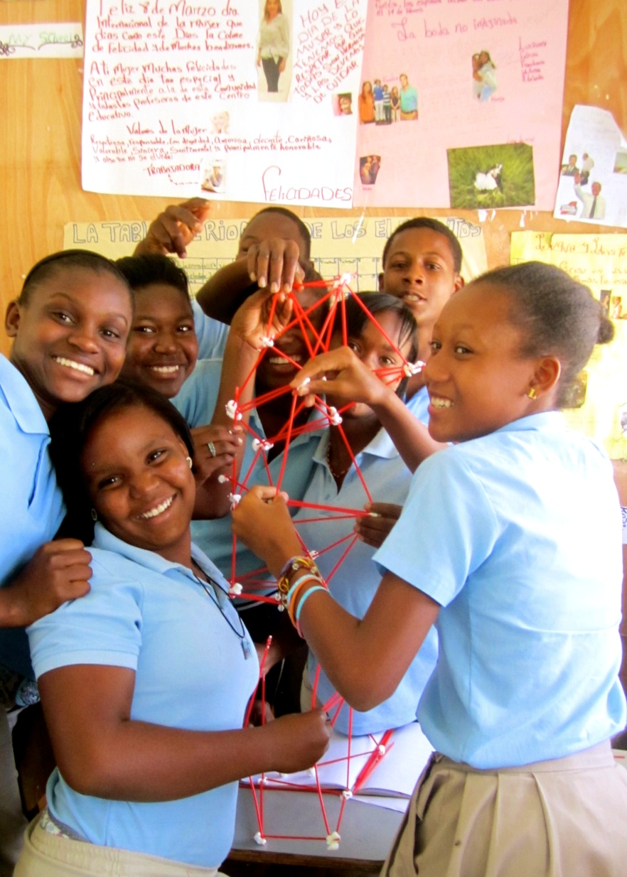 Students with stick model