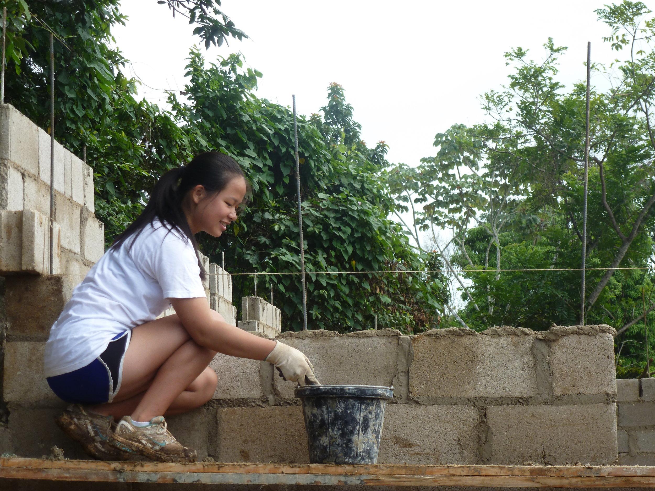 Mortaring a wall