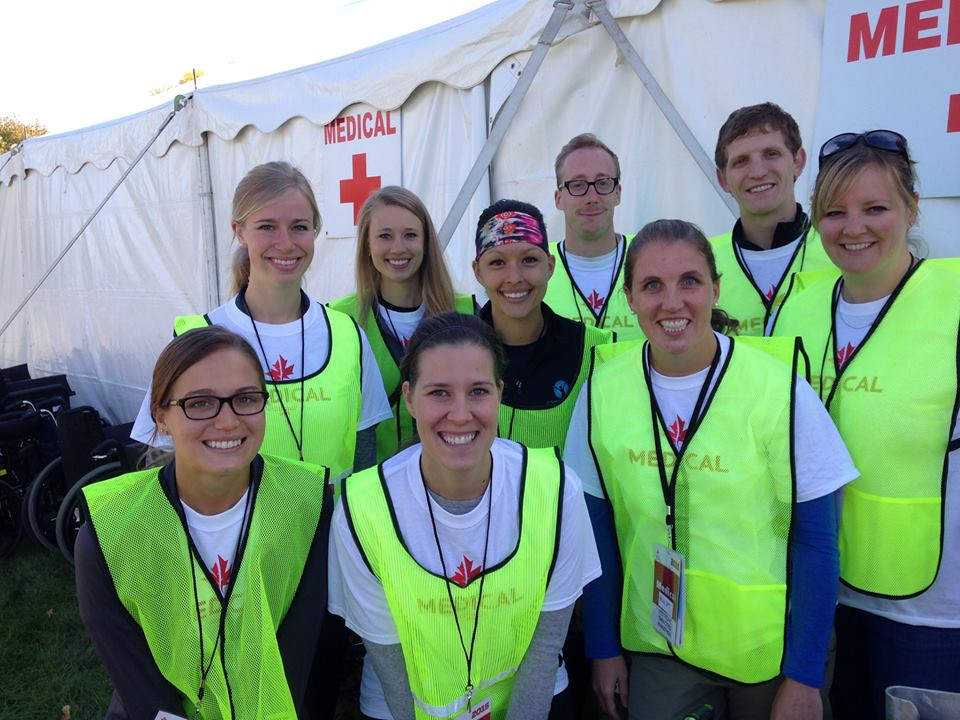 Twin Cities Marathon, October 1, 2017 - fabulous crew of PTs, MDs, Nurses, EMTs, ATCs and students all working together to send all the runners homes safe.