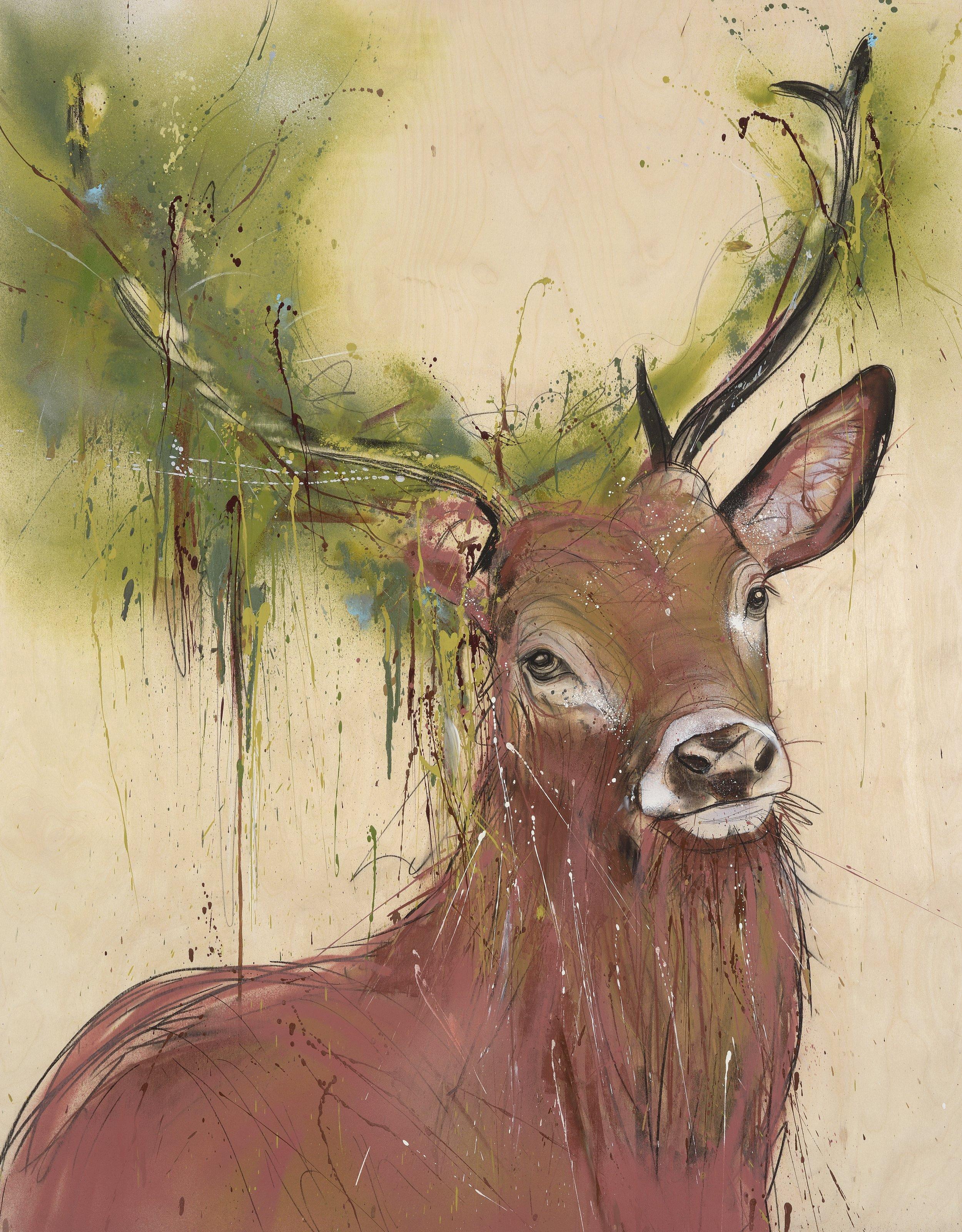 King Henry's Stag I , Original spray paint & conté on birch ply, 120 x 95cm