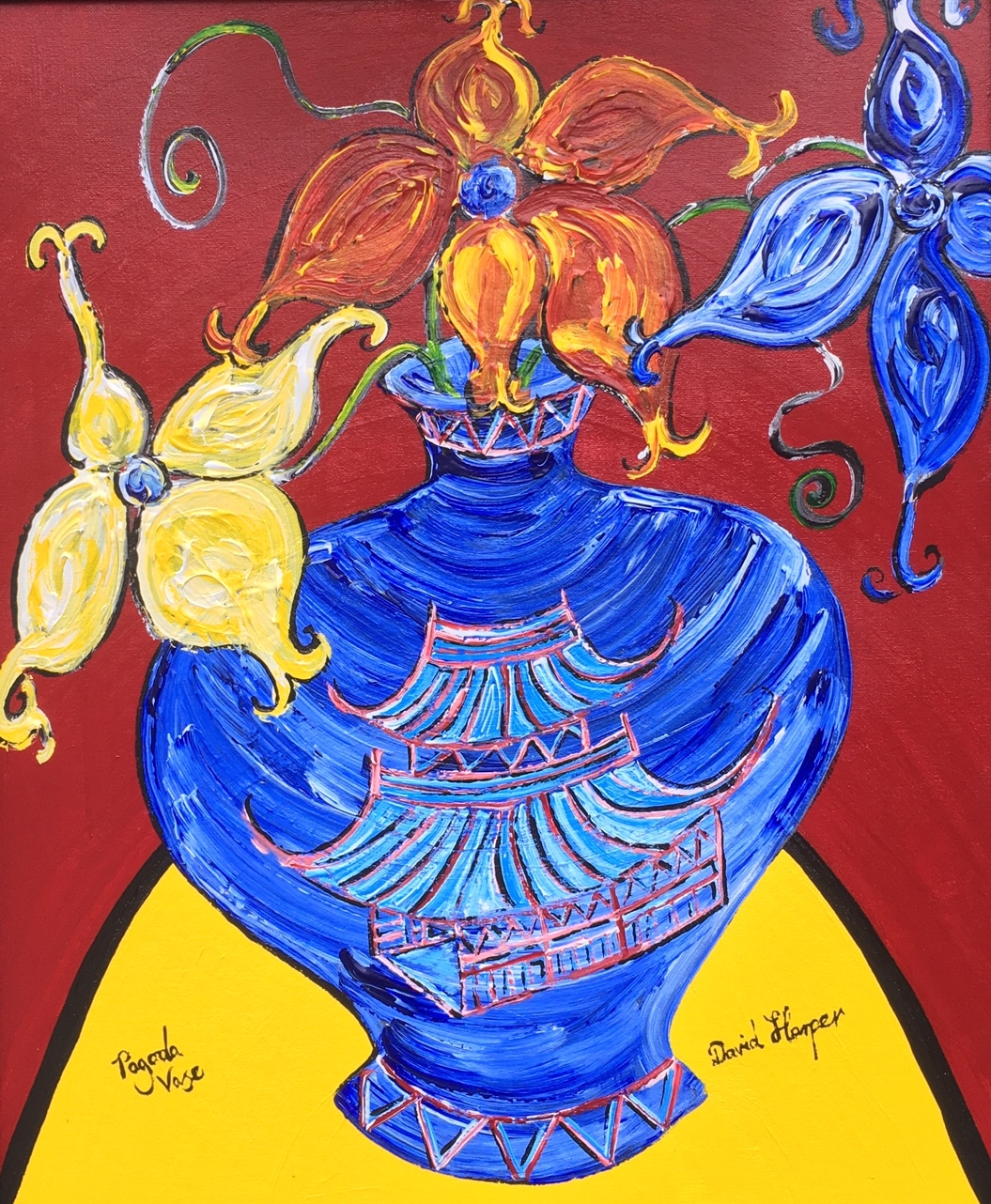 Pagoda Vase , Acrylic on canvas, 72 x 62cm