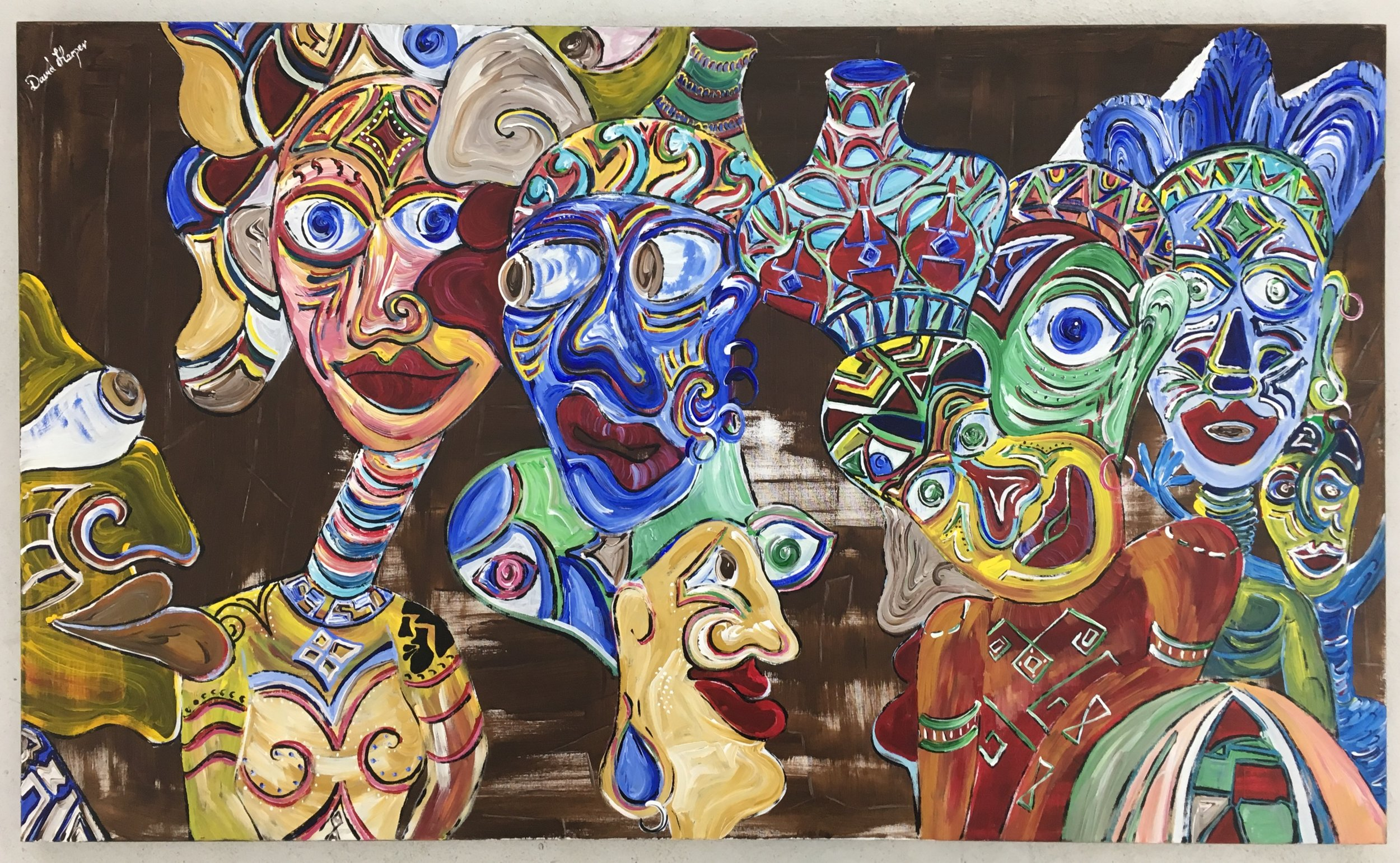 'People Watching Africa', Acrylic on Canvas, 91 x 152 cm, £ 6.800