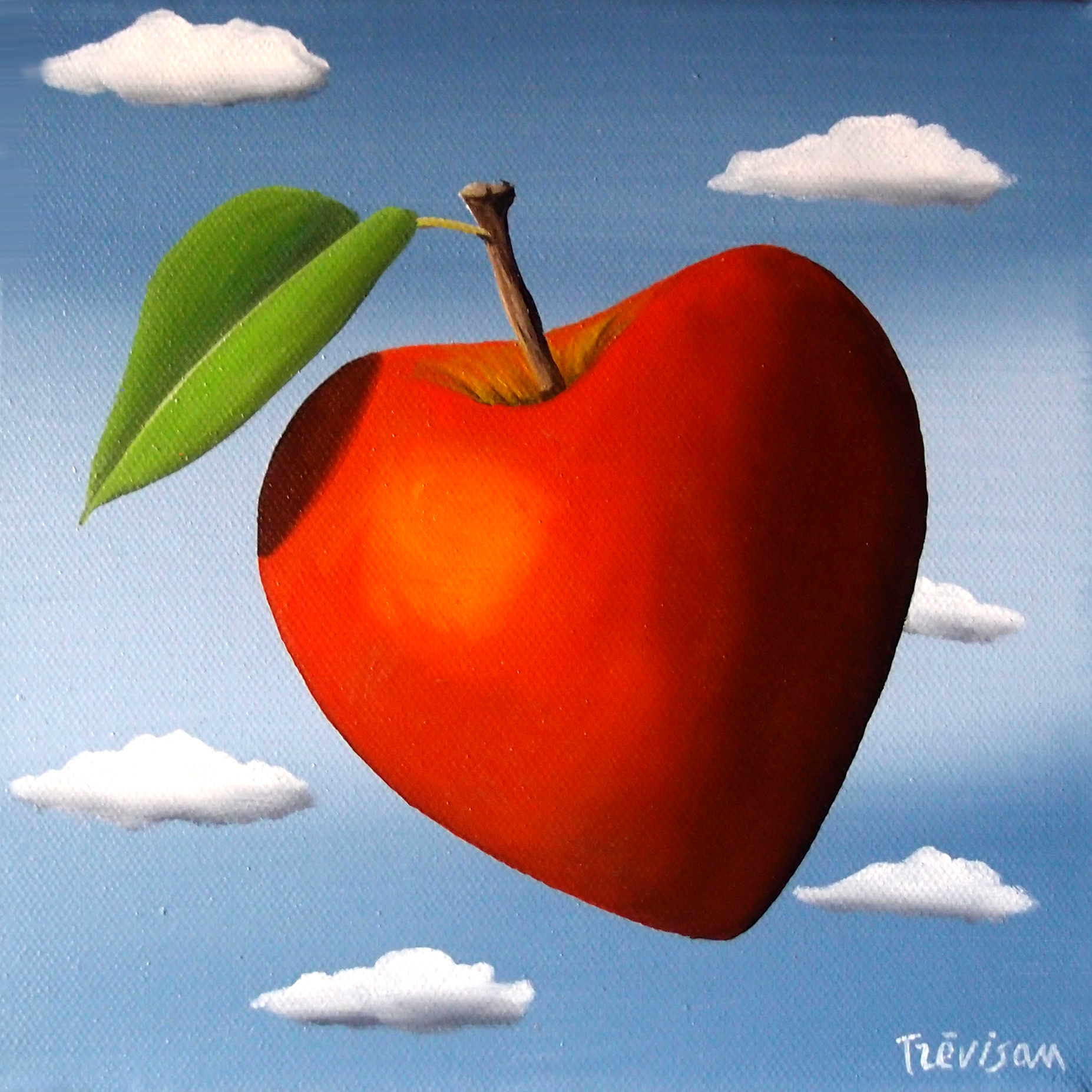 'Love Apple', Oil on canvas, 20 x 20 cm, £300