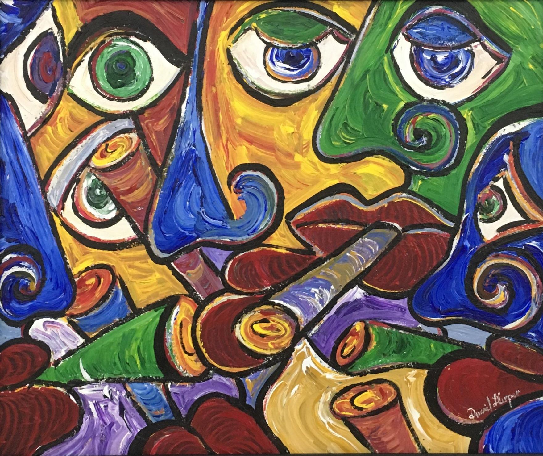 'Cigar Club', Acrylic on Canvas, 53 x 63 cm
