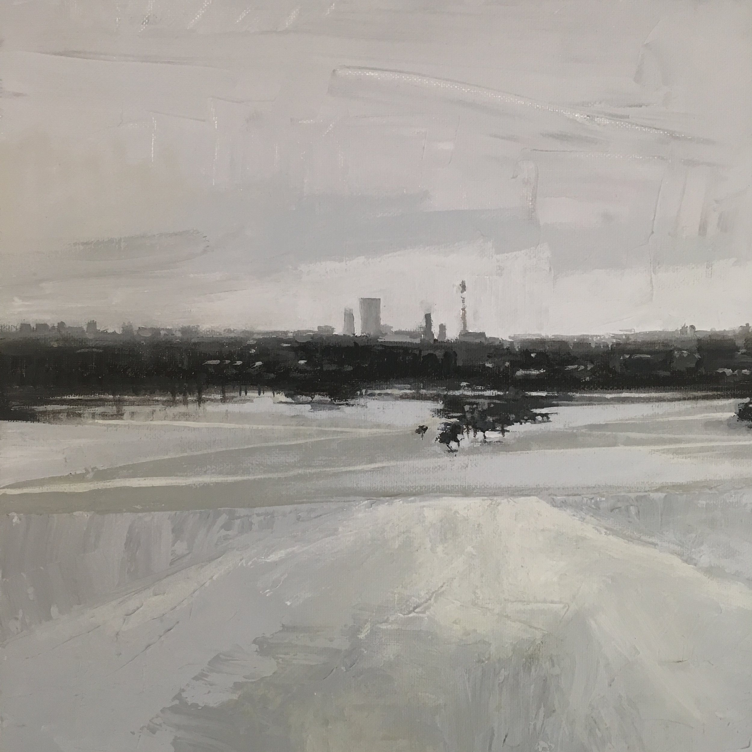 Primrose Hill (Winter), Acrylic on canvas, 30 x 30 cm, £350
