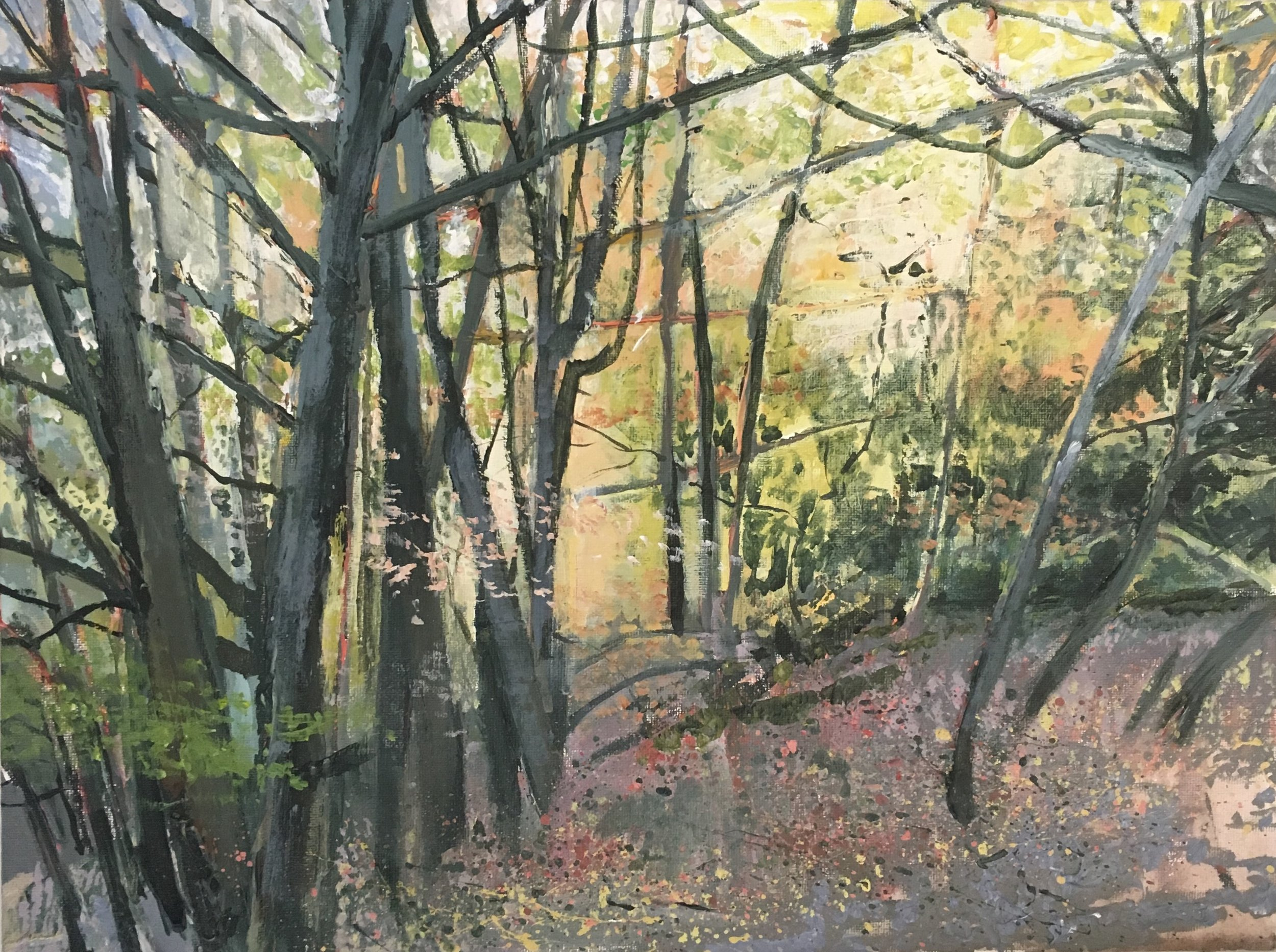 Highgate Wood, Acrylic on canvas, 23 x 30 cm, £300