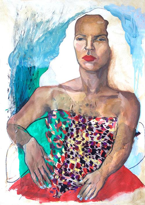Charlotte I  (2017) Oil and Graphite on Paper, 64 x 89cm, £950