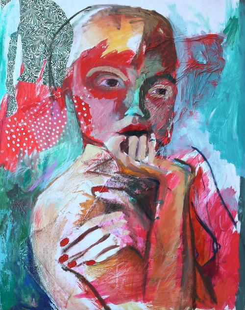 Creature (2017) Mixed Media on Canvas, 90 x 70cm, £1900