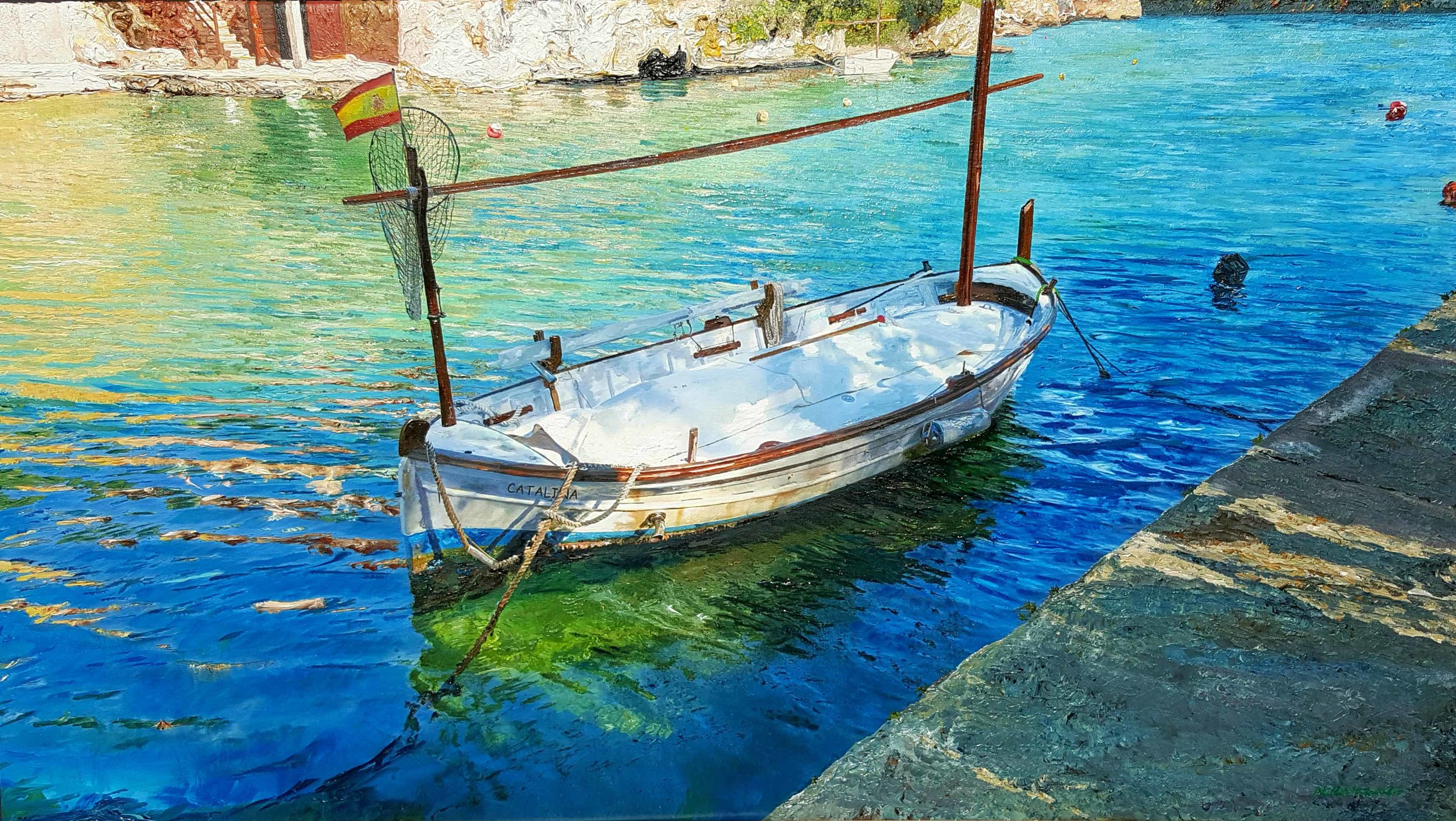 ' Llaut in Cala Figuera, Mallorca ', 2017, Oil on Canvas, 51 x 91cm.