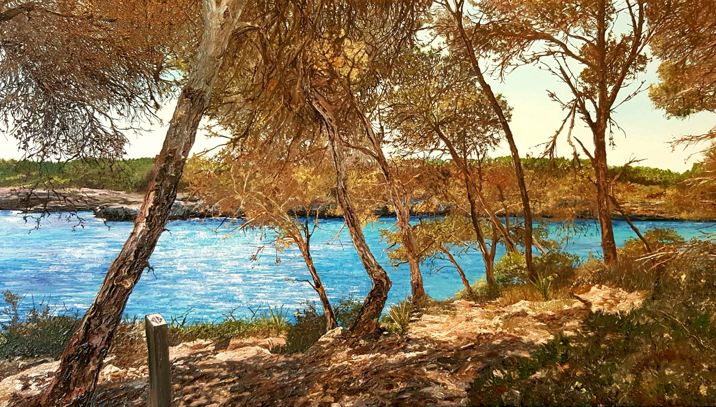 ' Entrance to Cala Mondrago ', 2018, Oil on Canvas, 57 x 101cm.