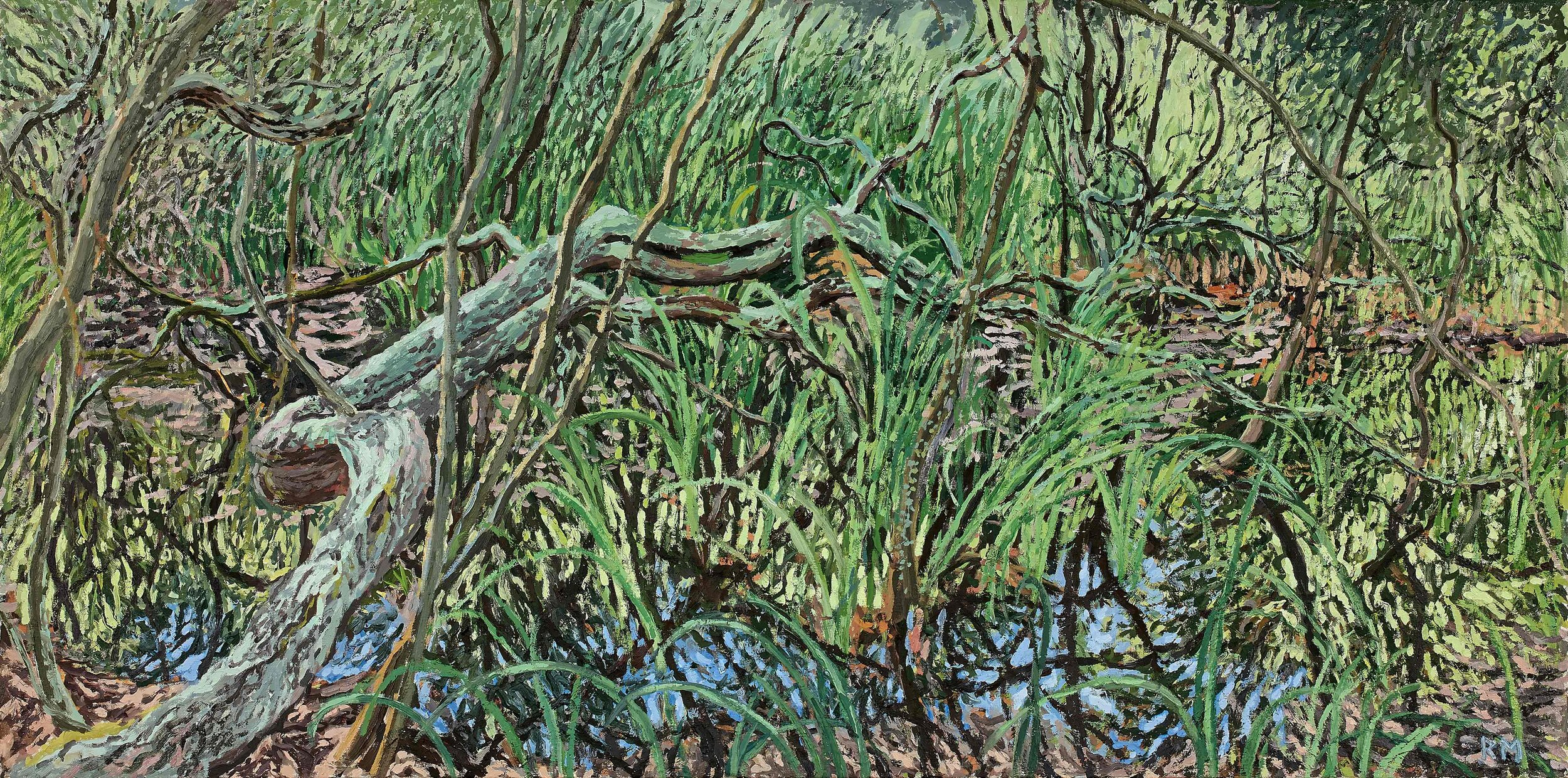 Swamp 2 (or The Mare aux Fees) , 2019, Oil on canvas, 50 x 100 cm, £3000.