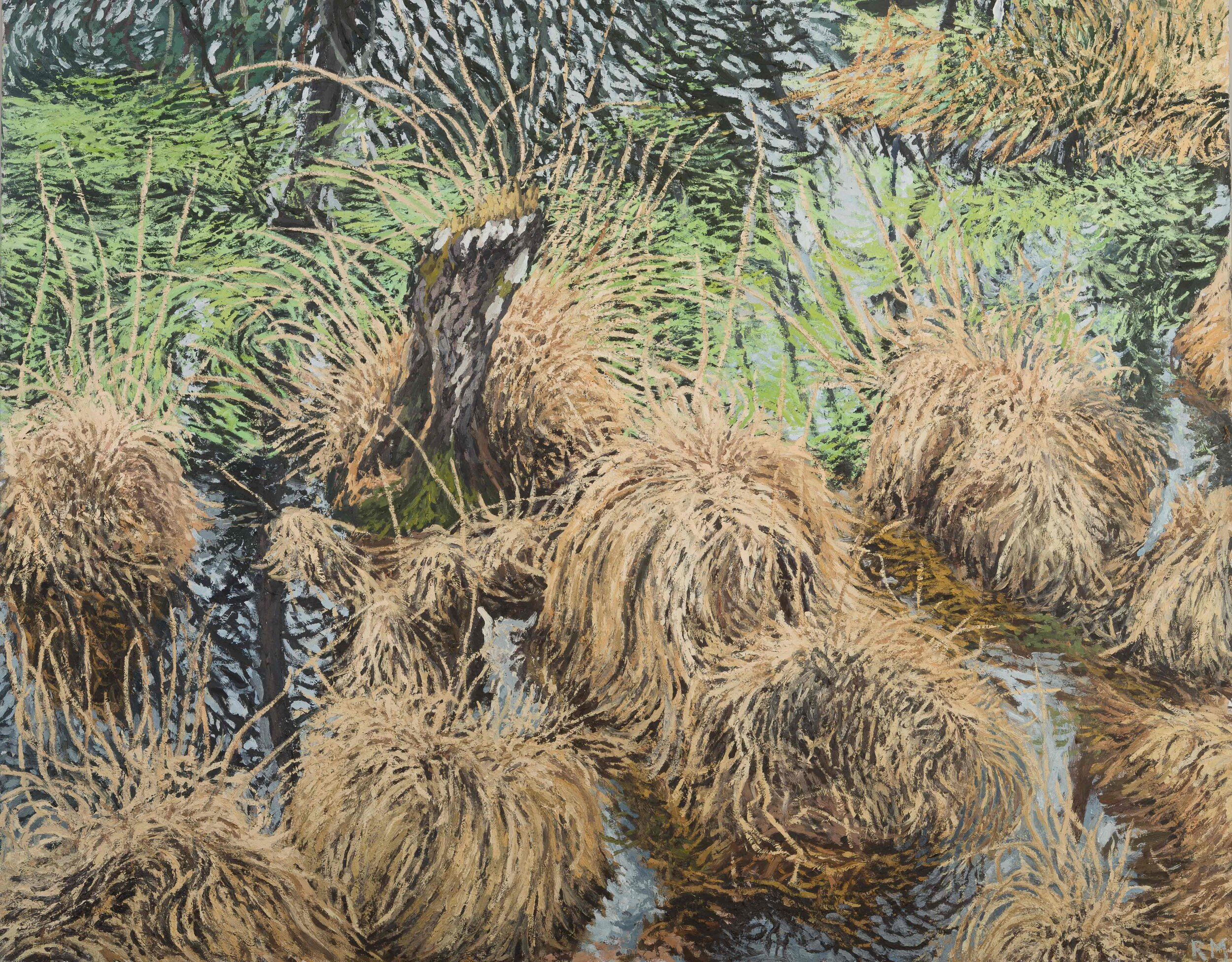 Grasses in a Pond (Mare aux Pigeons) on a Cloudy Day , 2018, Oil on canvas, 73 x 92 cm, £3850.