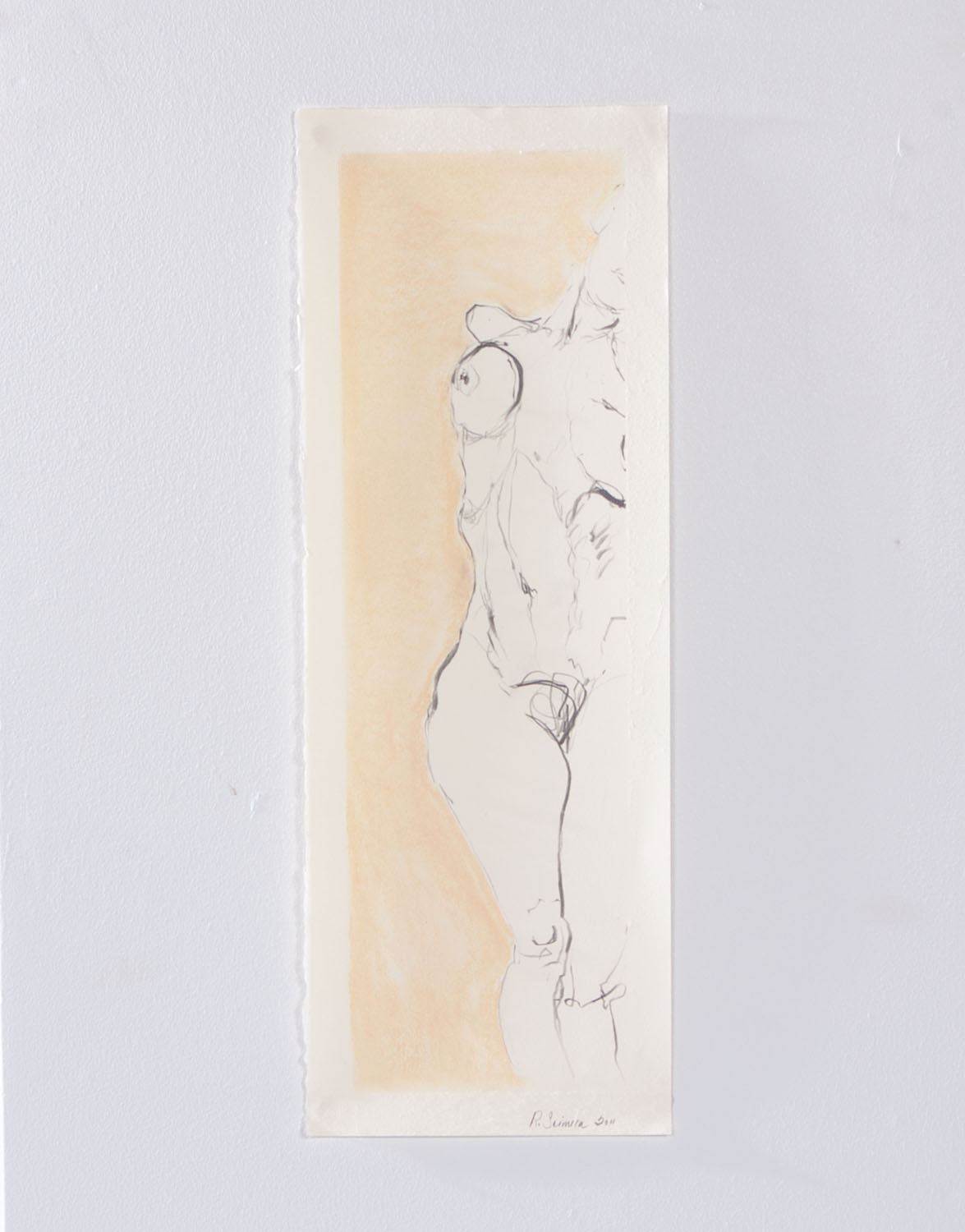 "Collapse, 2012, Graphite and pastel on paper, 19"" x 7"""