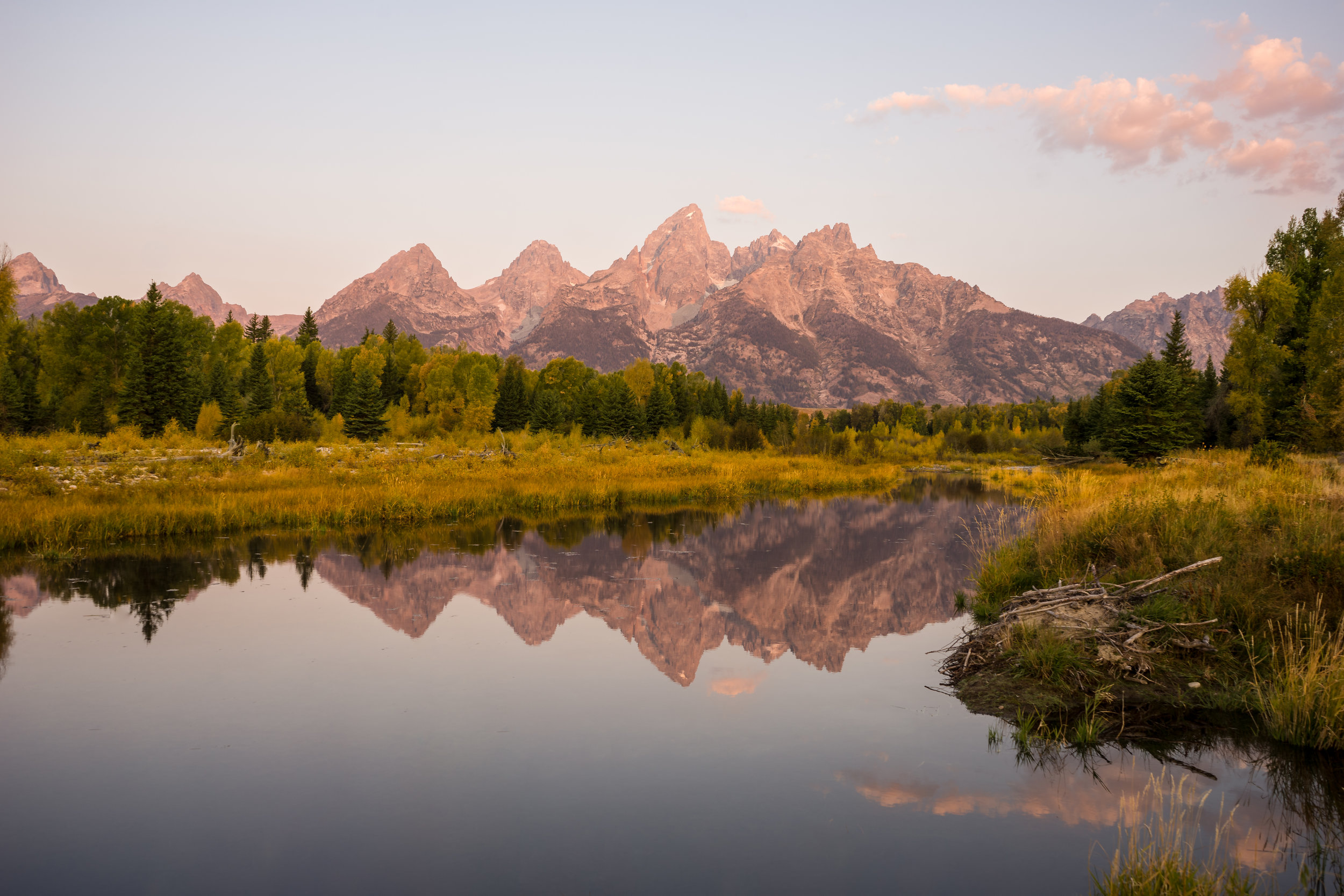 Sunrise of the Teton Mountains