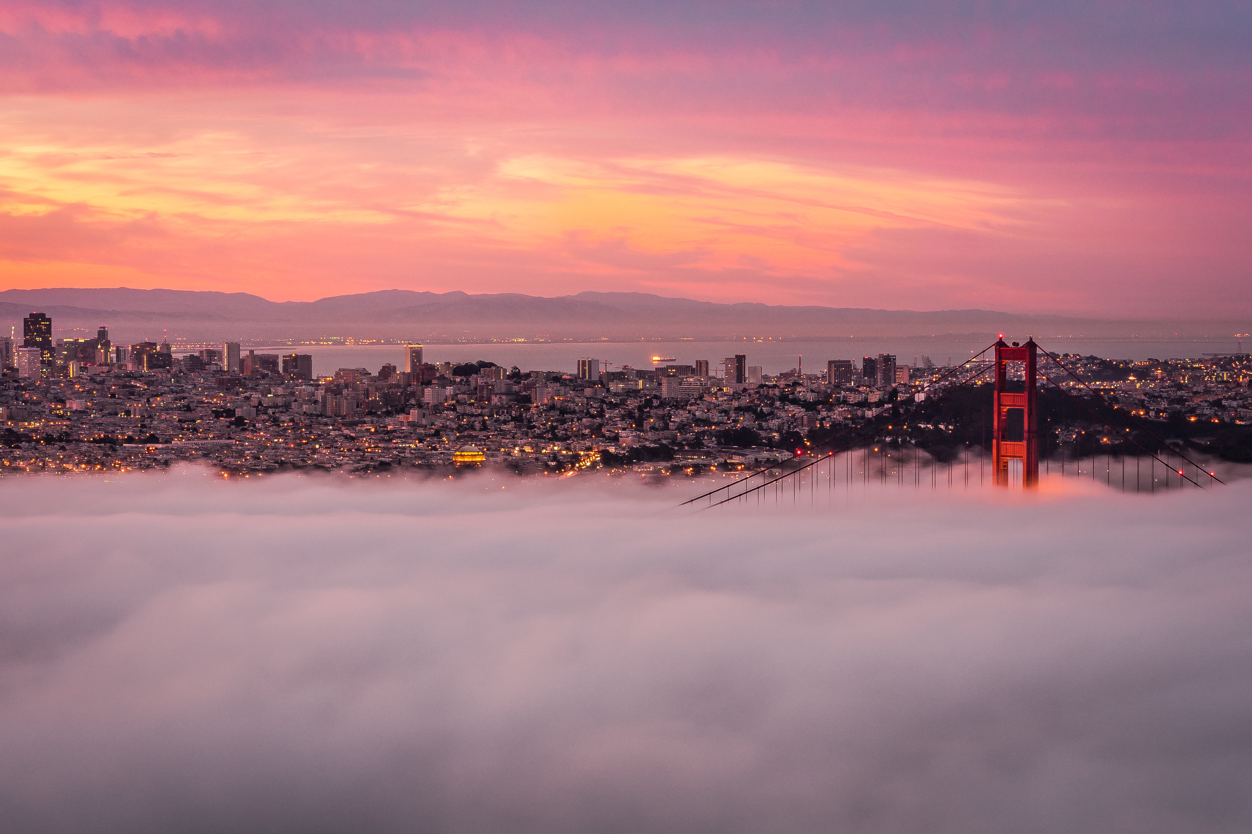 Low Fog Embracing the Golden Gate Bridge at Sunrise