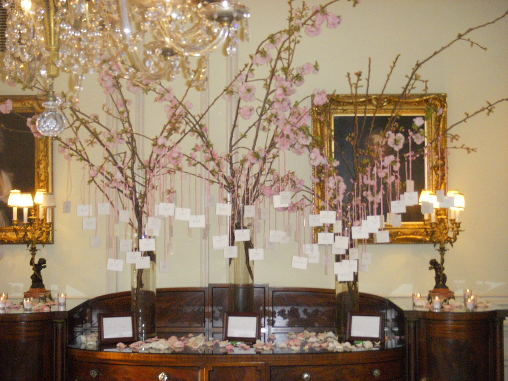 spring wedding flowers - Cherry-blossom-escort cards display