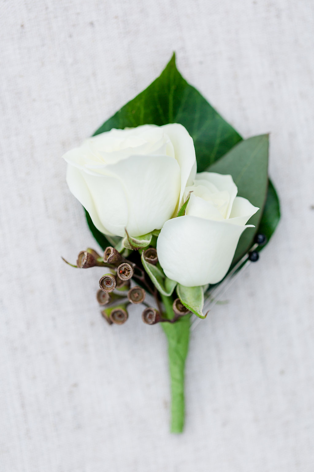 Spray rose boutonniere with a touch of greenery. Rachel E.H. Photography