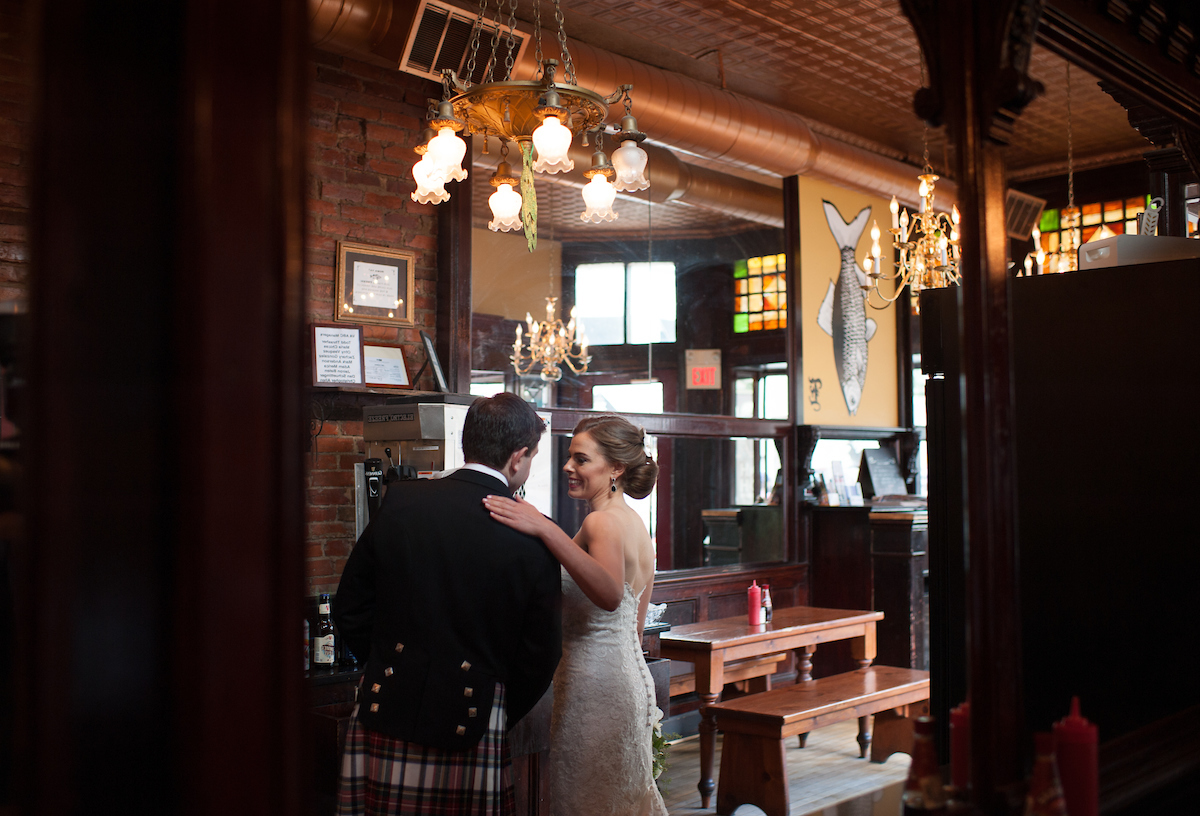 Love this shot of Sarah+Keith celebrating at   Eammon's   in Old Town.