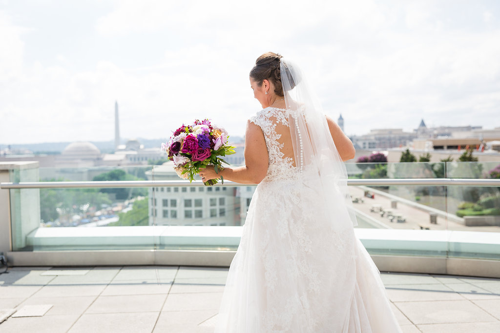 Beautiful view of Kearney's wedding gown and the Washington Monument.