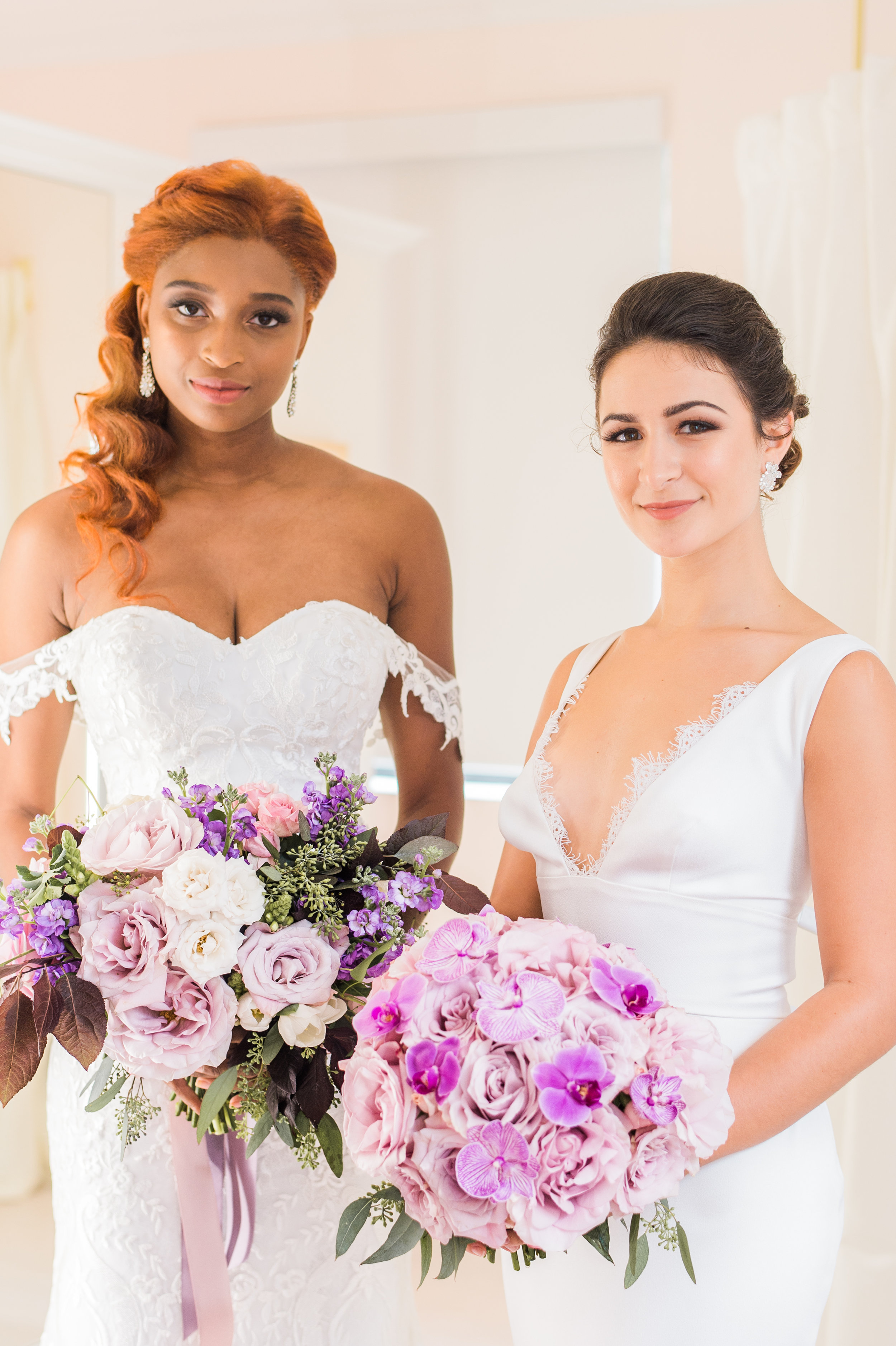 The lovely  Kayla Poawui  and  Julianna Carfaro  modeling fall gowns and flowers.