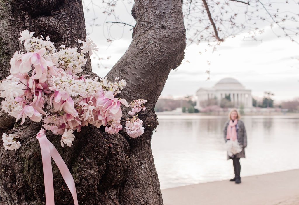 Cherry Blossom + Jefferson Memorial + Atelier Ashley Flowers + By Brittany Branson + Marie Windsor Photography + Calligraphette & Co + Cherry Blossom Bouquet