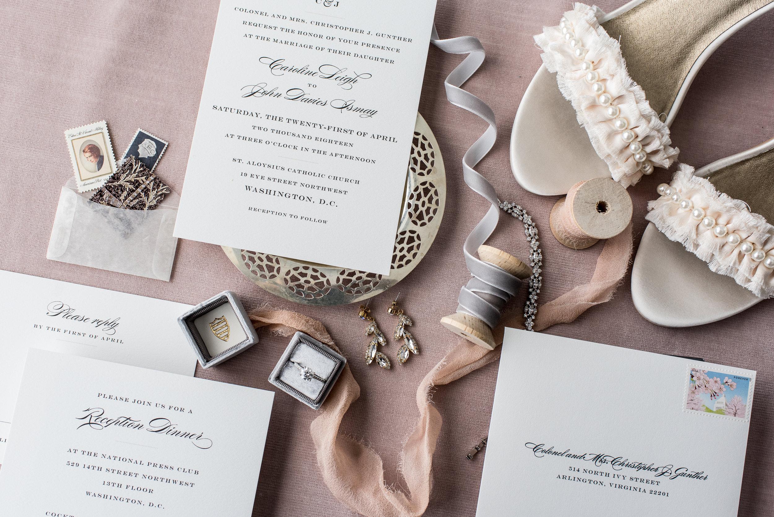 Atelier Ashley Flowers + Erin Tetterton Photography +  Flat Lay + Stationary + ribbon + Wedding Invitation