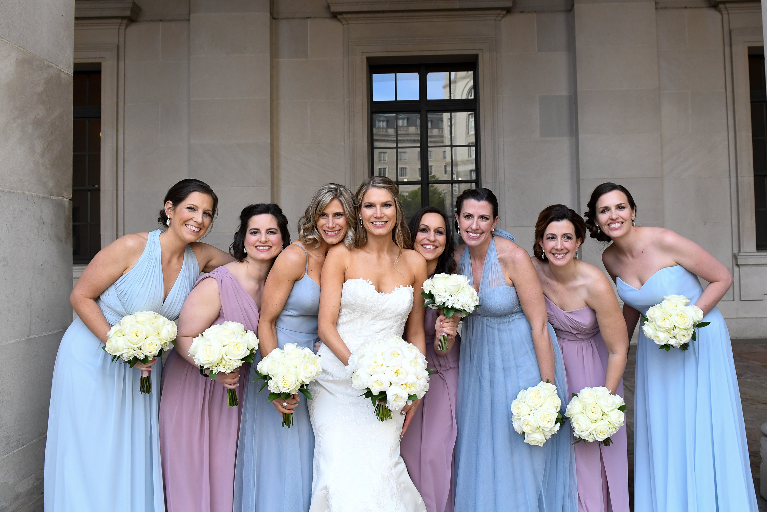 Atelier Ashley Flowers + Erin Tetterton Photography  + Bridal bouquet + bridesmaids bouquets + dusty blue + dusty mauve + all rose bouquet + National  Press Club + Gonzaga