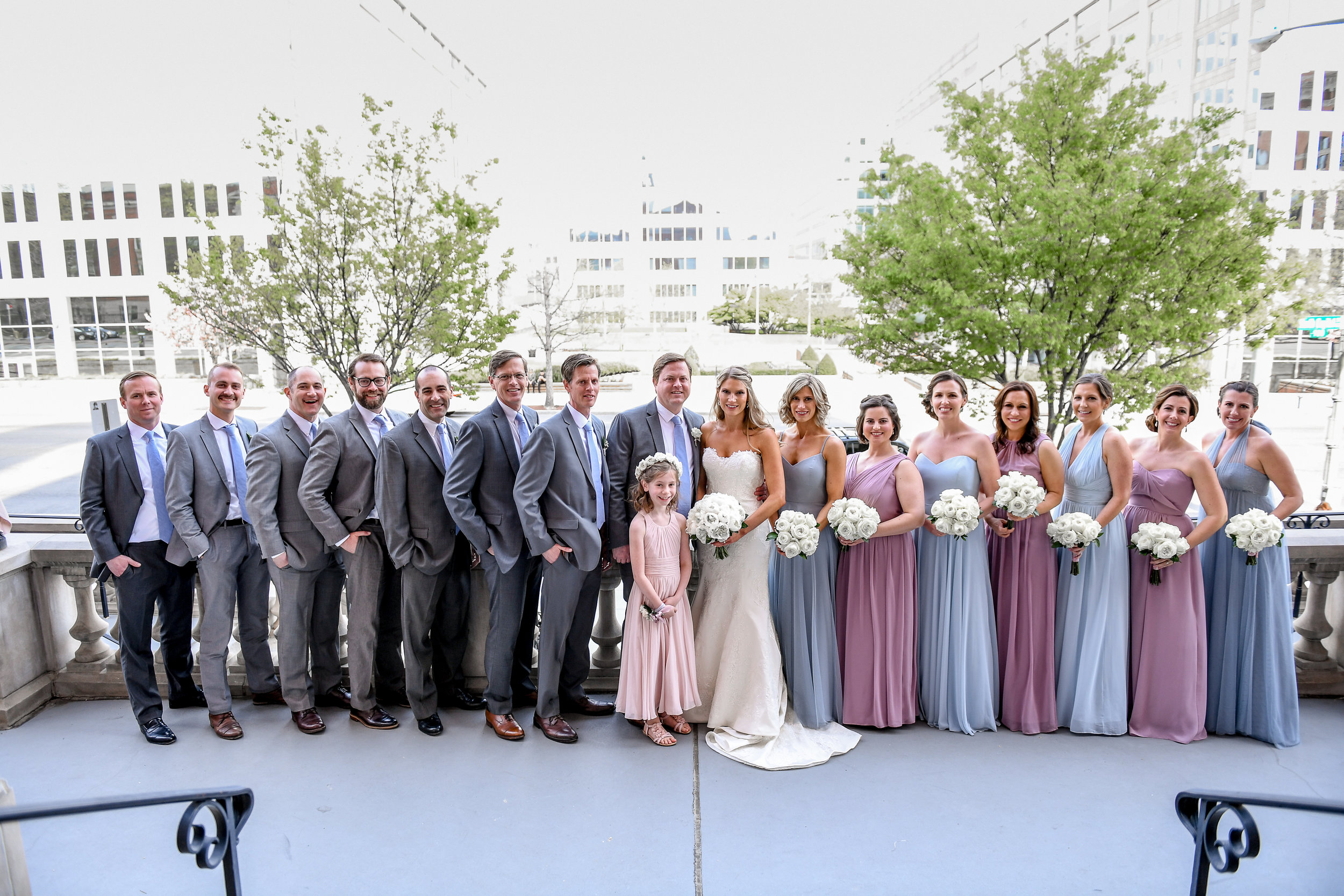 Atelier Ashley Flowers + Erin Tetterton Photography + bridal portrait + bridesmaids bouquetsc + dusty blue + dusty pink
