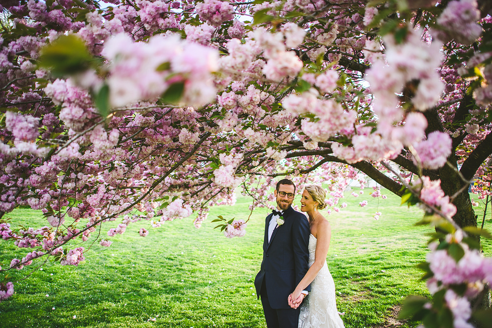 Atelier Ashley Flowers + Sam Hurd Photography + Washington Golf and Country Club + Diamond and Pearl Wedding +  Cherry Blossom Wedding + Cherry blossom wedding Portrait + boutonniere