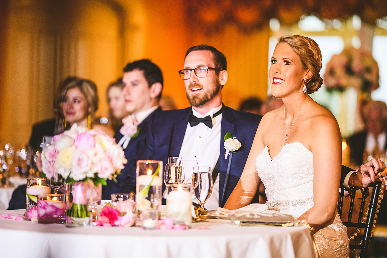 Atelier Ashley Flowers + Sam Hurd Photography + Washington Golf and Country Club + Diamond and Pearl Wedding + sweetheart table + bridal bouquet + floating candles