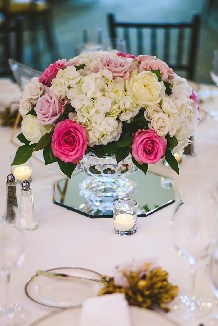 Atelier Ashley Flowers + Sam Hurd Photography + Washington Golf and Country Club + Diamond and Pearl Wedding + pink and white flowers + low centerpiece + white hydrangea + round centerpiece