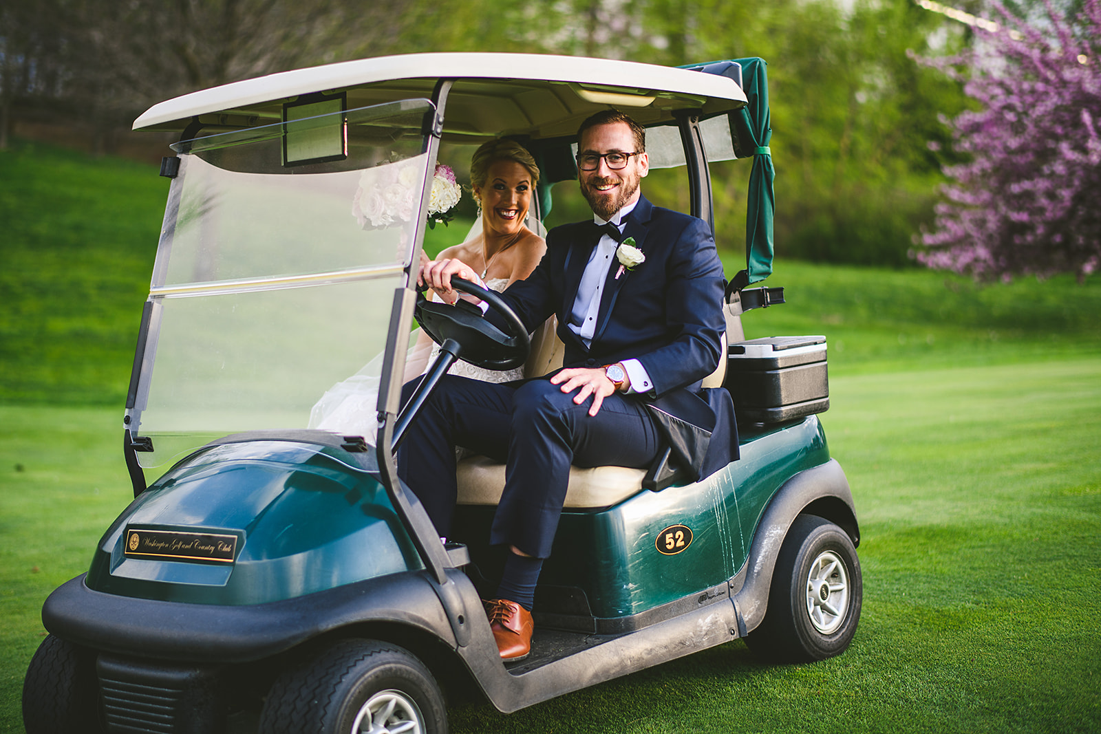 Atelier Ashley Flowers + Sam Hurd Photography + Washington Golf and Country Club + Diamond and Pearl Wedding + golf cart + country club wedding + fun wedding ideas