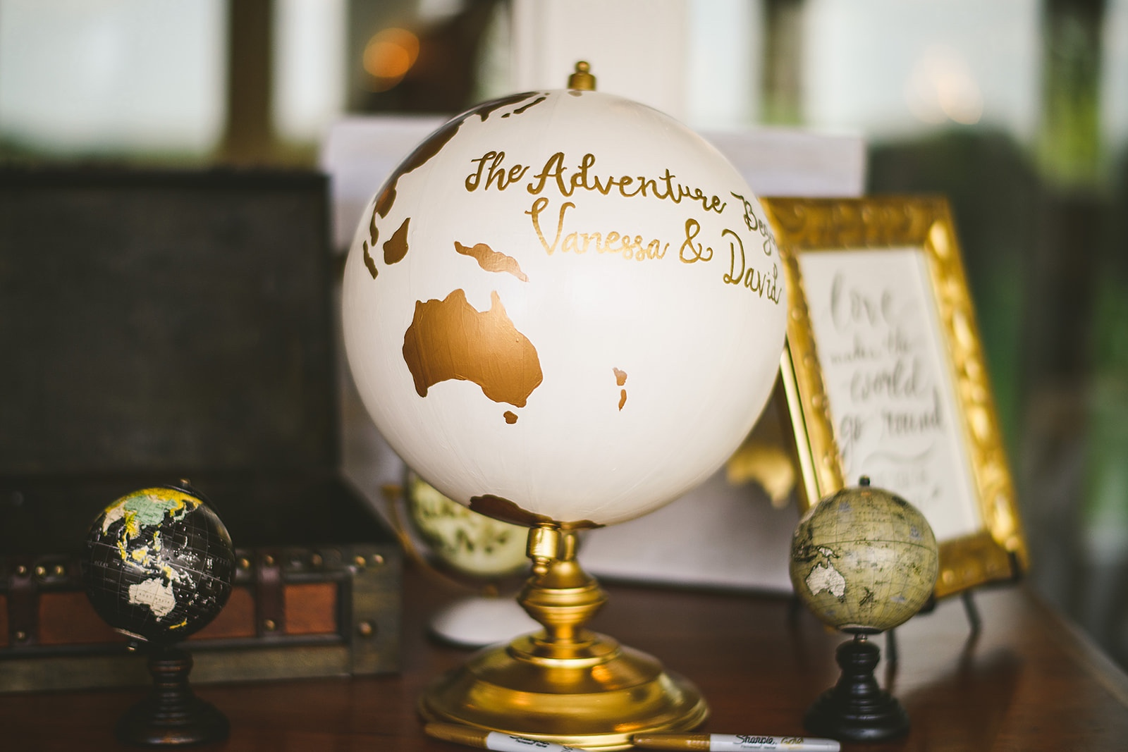 Atelier Ashley Flowers + Sam Hurd Photography + Washington Golf and Country Club + Diamond and Pearl Wedding + wedding globe + globe