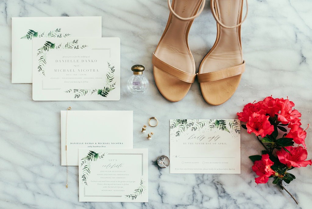 Atelier Ashley Flowers + Woodlawn + Pope Leighhey House + Anna Reynal Photography + DC Weddings + DC Florist + flat lay + statonary + wedding shoes