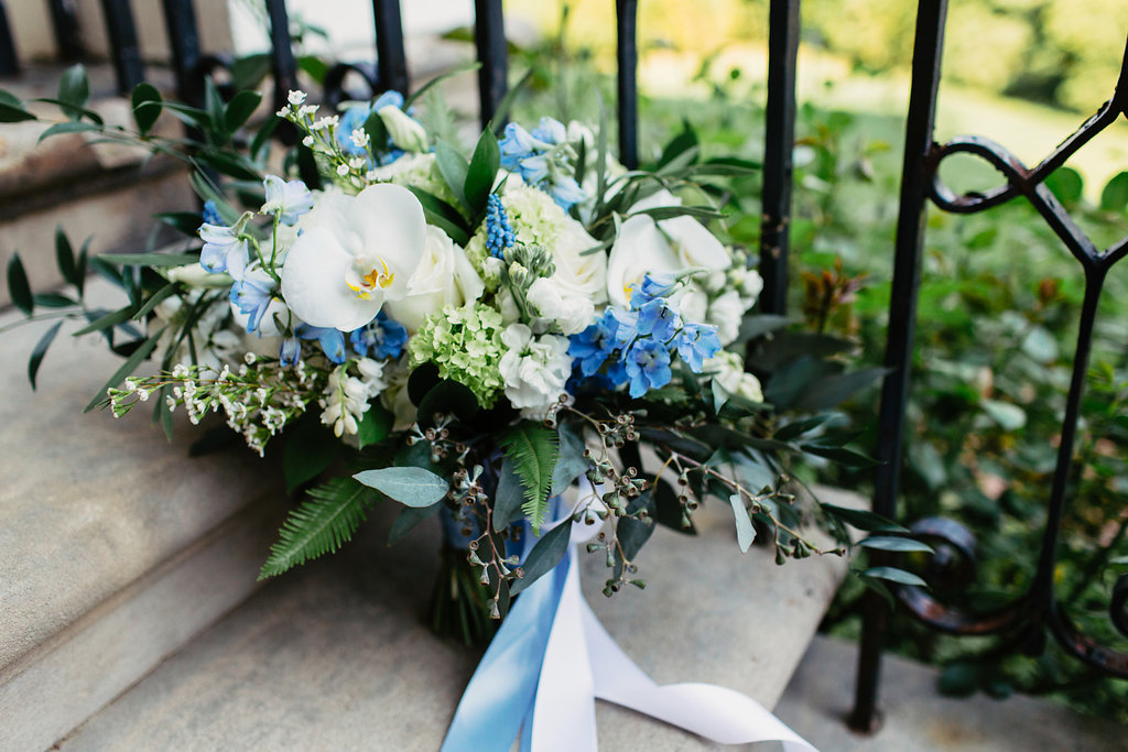 Atelier Ashley Flowers + Woodlawn + Pope Leighhey House + Anna Reynal Photography + DC Weddings + DC Florist + bridal bouquet + dusty blue + dusty blue flowers + blue and white + mansion wedding