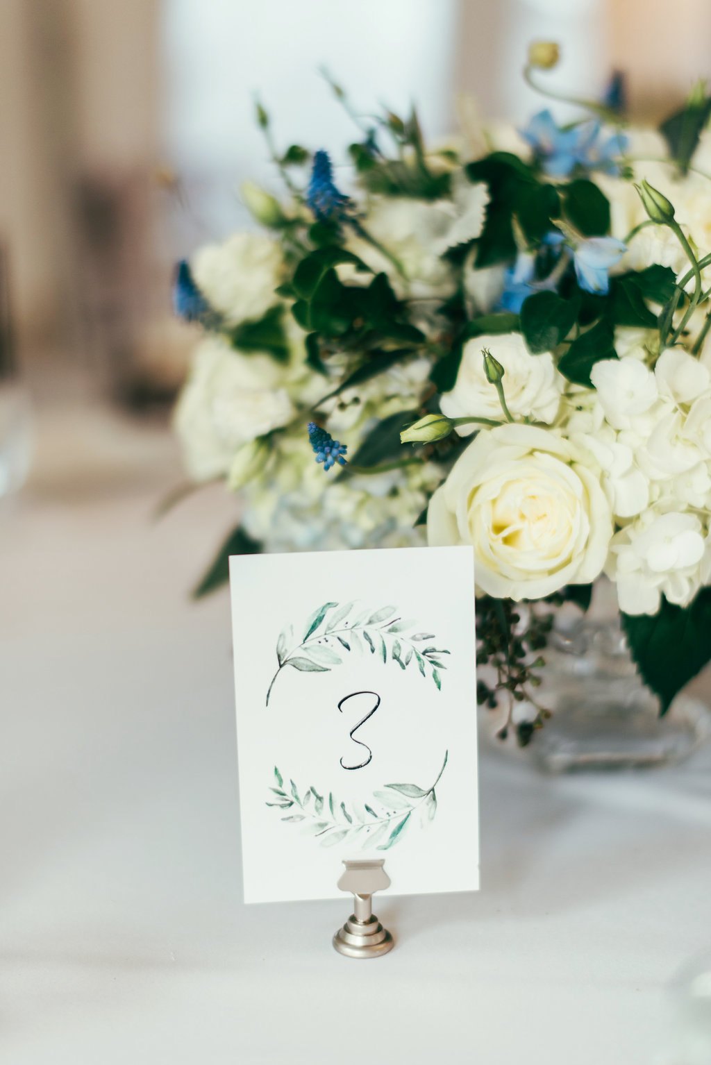 Atelier Ashley Flowers + Woodlawn + Pope Leighhey House + Anna Reynal Photography + DC Weddings + DC Florist + centerpieces + dusty blue and white flowers + dusty blue centerpiece