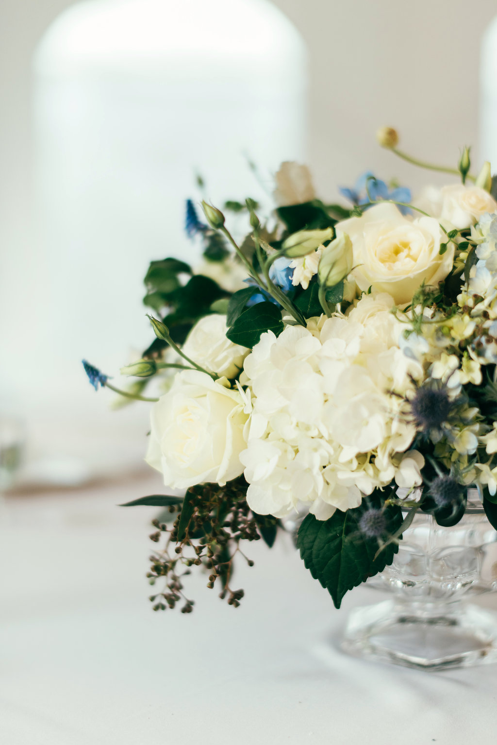 Atelier Ashley Flowers + Woodlawn + Pope Leighhey House + Anna Reynal Photography + DC Weddings + DC Florist + centerpiece + dusty blue and white