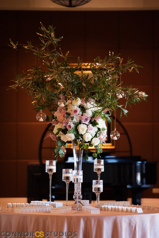 Atelier Ashley Flowers +Erin and Ryan + Mandarin Oriental + Connor Studios + Ivory and Blush + Wedding Flowers + tall centerpiece