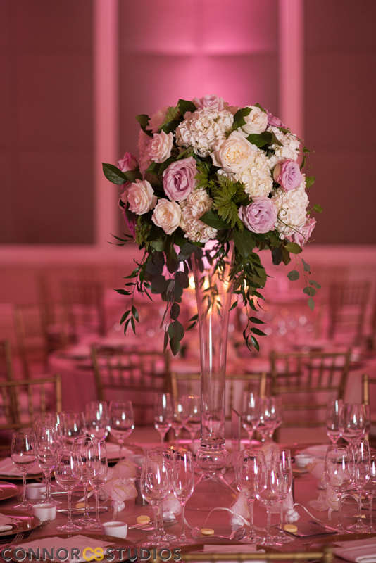 Atelier Ashley Flowers +Erin and Ryan + Mandarin Oriental + Connor Studios + Ivory and Blush + Wedding Flowers + tall centerpiece + real wedding