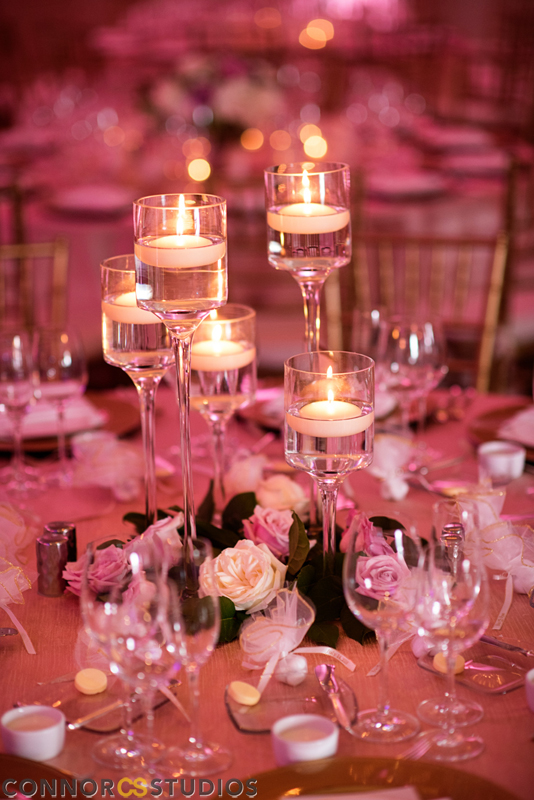 Atelier Ashley Flowers +Erin and Ryan + Mandarin Oriental + Connor Studios + Ivory and Blush + Wedding Flowers + floating candles