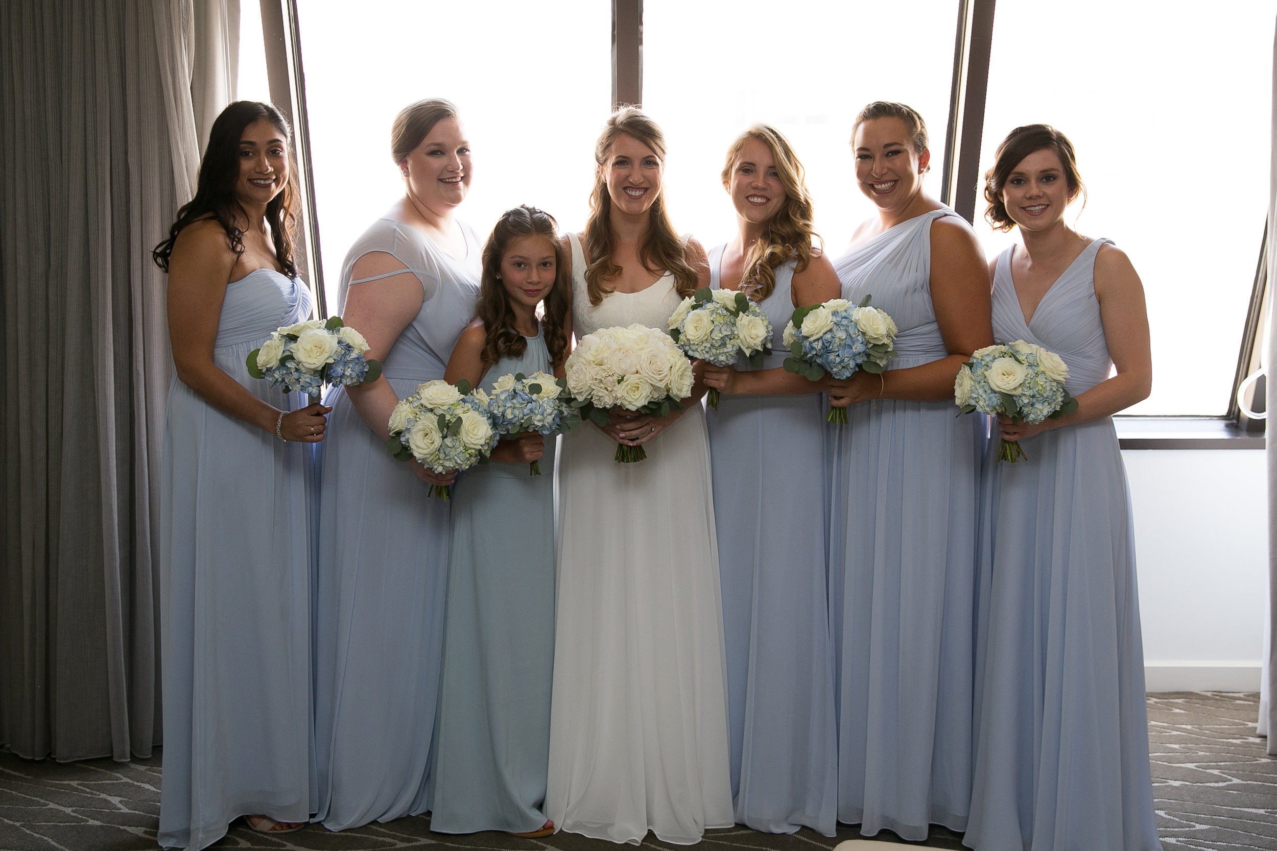 Atelier Ashley Flowers + Dusty Blue + Borrowed and Blue Photography + Congressional Country Club + DC wedding +  bridesmaids + round bouquets