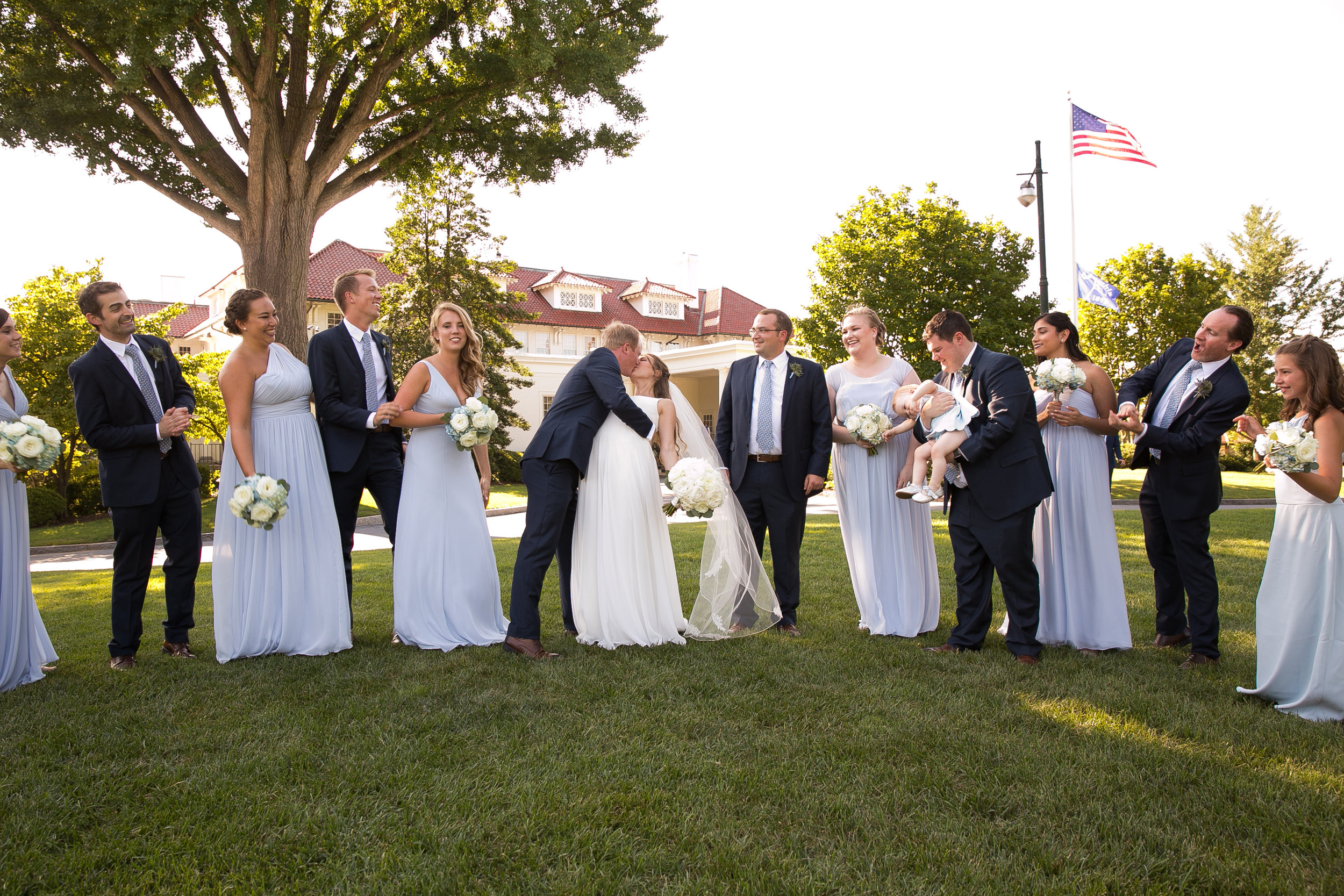 Atelier Ashley Flowers + Dusty Blue + Borrowed and Blue Photography + Congressional Country Club + DC wedding +  kiss