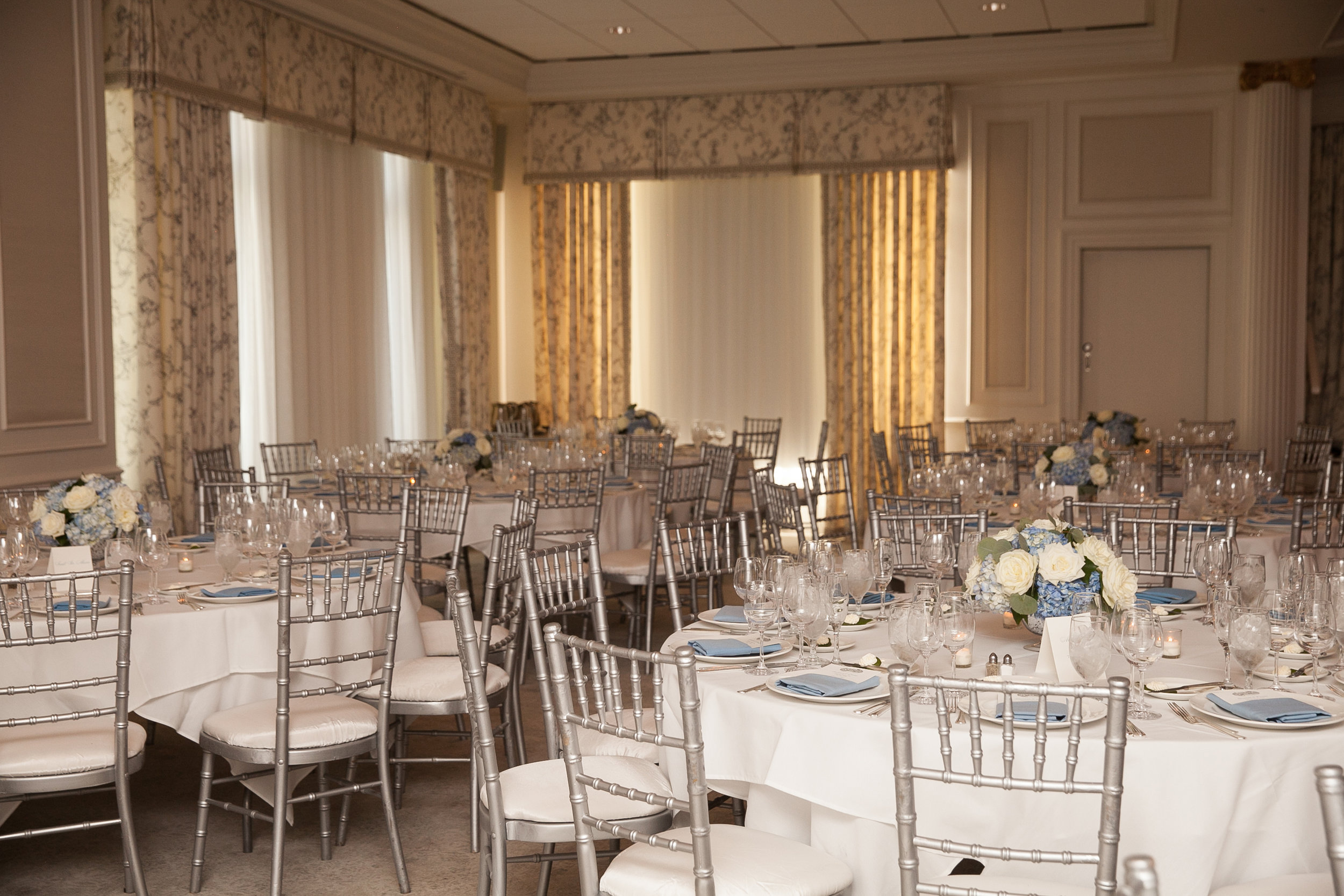 Atelier Ashley Flowers + Dusty Blue + Borrowed and Blue Photography + Congressional Country Club + DC wedding + low centerpieces + round centerpieces