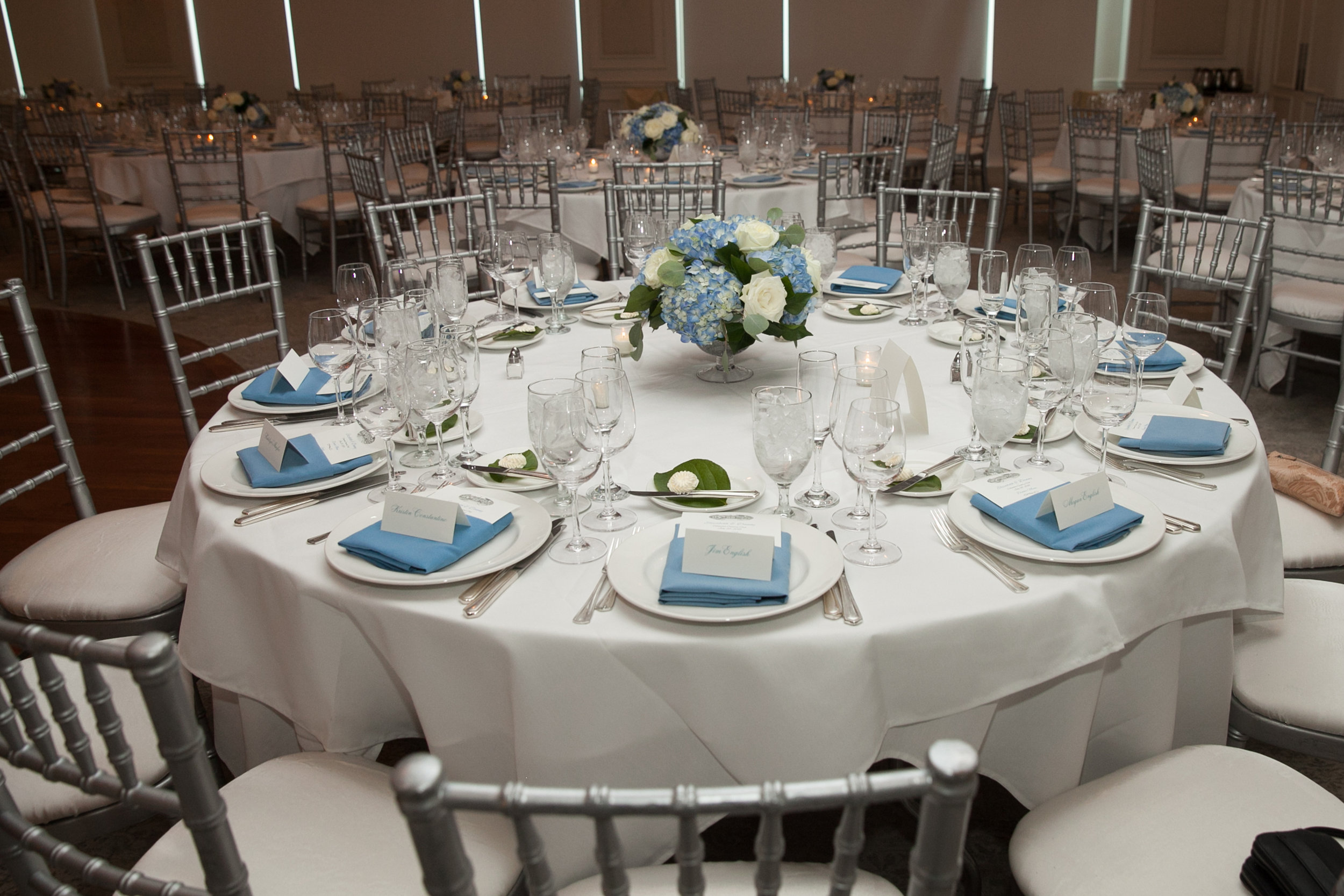 Atelier Ashley Flowers + Dusty Blue + Borrowed and Blue Photography + Congressional Country Club + DC wedding + table set up + low centerpiece