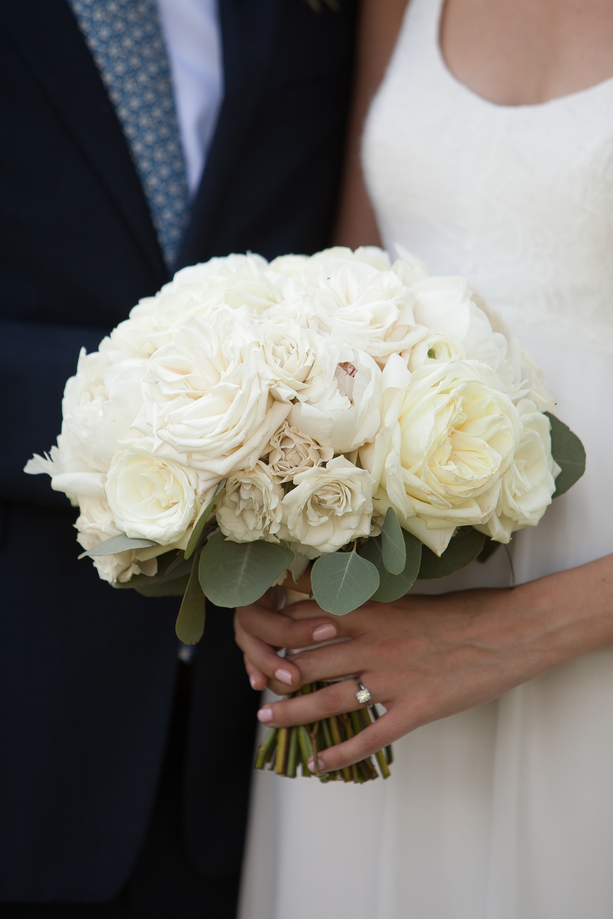 Atelier Ashley Flowers + Dusty Blue + Borrowed and Blue Photography + Congressional Country Club + DC wedding + all white wedding bouquet + white peonies